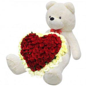 njdfh 101 роза и большой мишка