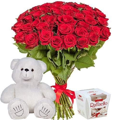 "njdfh 51 роза, мишка и ""Raffaello"""