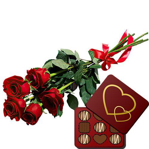 товар 5 красных роз с конфетами